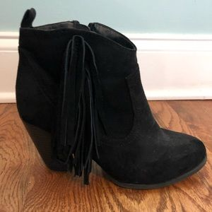 Black Suede Fringe Booties